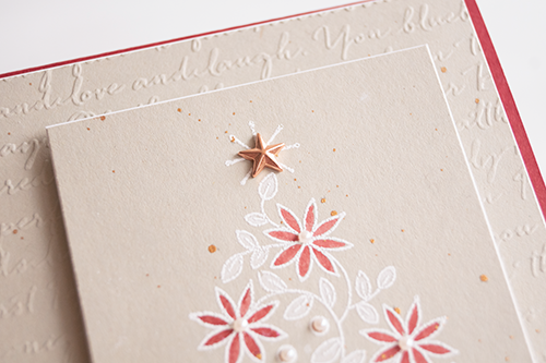 Christmas card 2019 by Teneale Williams Stampin up Shine Bright Stamp Set White Wash embossing