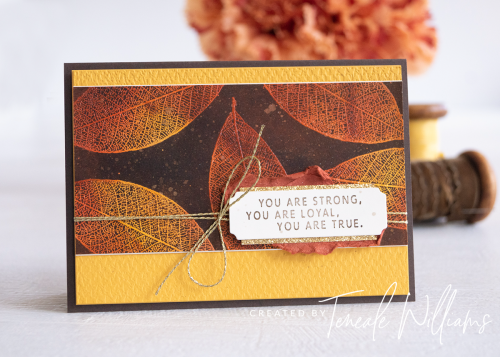 By Teneale Williams Loyal Leaves stamp set from Stampin up josephs coat emboss resist cardmaking