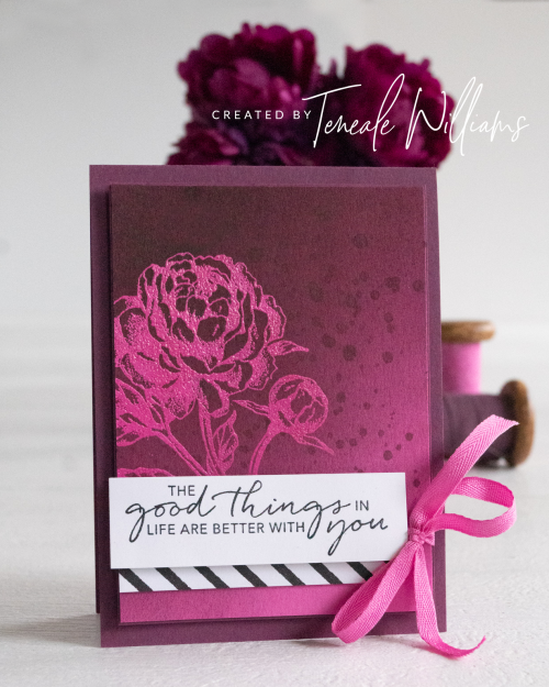 By Teneale Williams Prized Peony Stamp Set from Stampin up card embossing resist technique