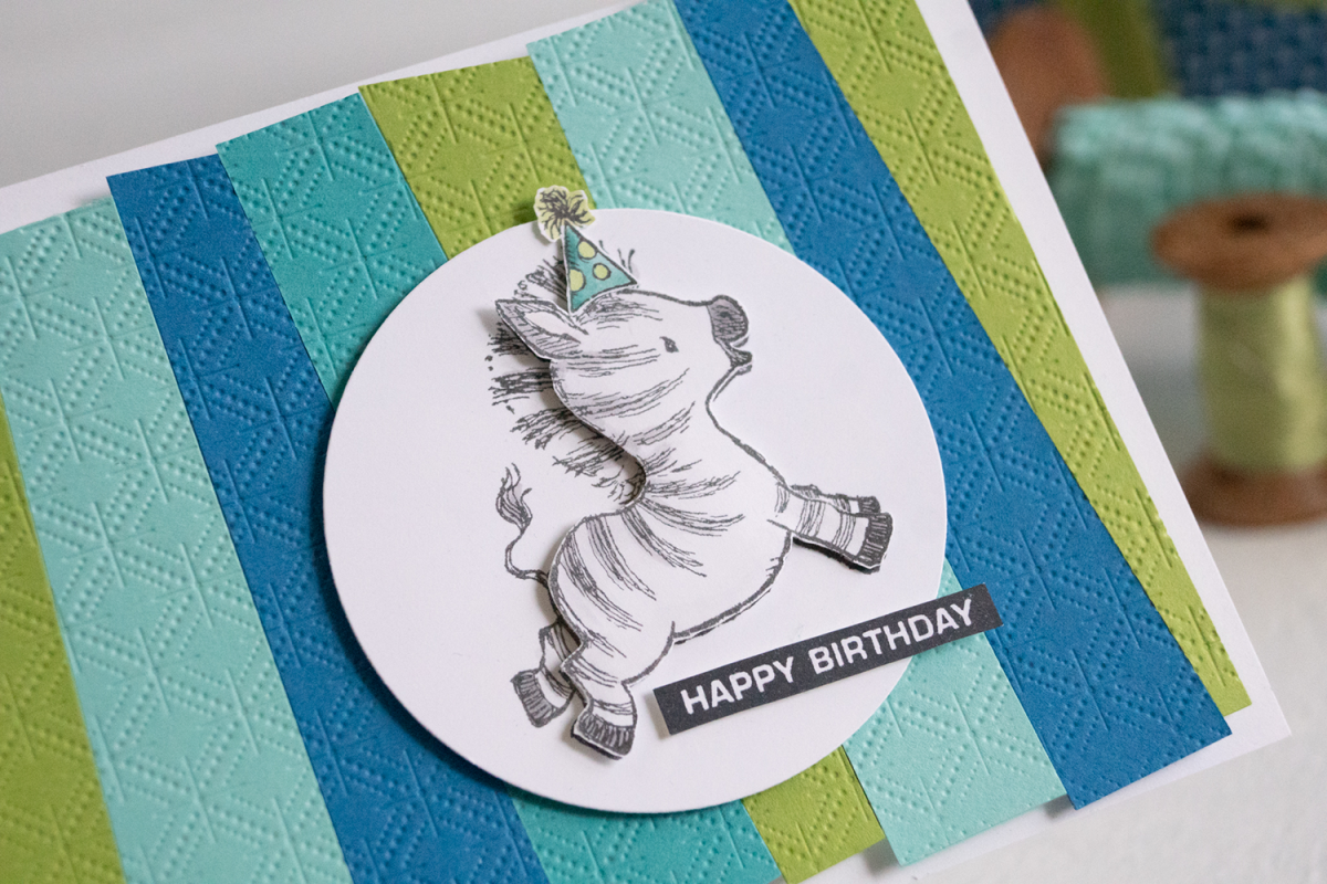 By Teneale Williams Zany Zebras Stamp Set Birthday card using Stampin Up