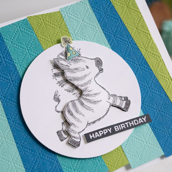 By Teneale Williams Zany Zebras Stamp Set Birthday card using Stampin Up