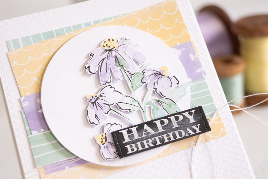 By Teneale Williams Hand Penned designer series paper Stampin' Up card idea DSP birthday