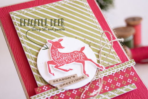 By Teneale Williams Peaceful Deer Stamp Set with Gingerbread & Peppermint DSP Christmas 2021 card